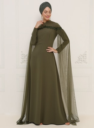 Khaki - Unlined - Crew neck - Muslim Evening Dress