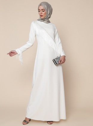 Cream - Unlined - Crew neck - Muslim Evening Dress