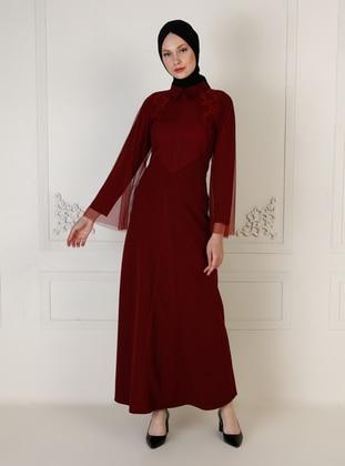 Maroon - Unlined - Point Collar - Muslim Evening Dress