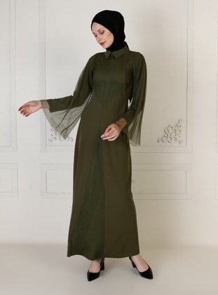 Khaki - Unlined - Point Collar - Muslim Evening Dress