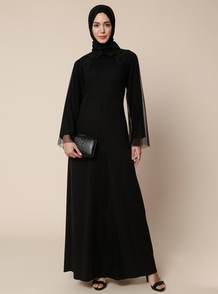 Black - Unlined - Point Collar - Muslim Evening Dress