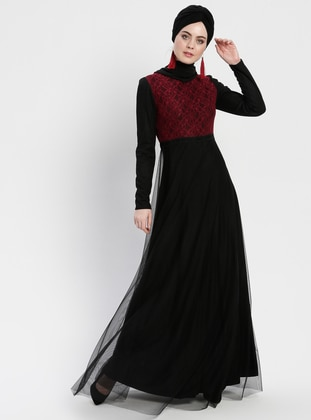 Black - Maroon - Multi - Fully Lined - Crew neck - Muslim Evening Dress