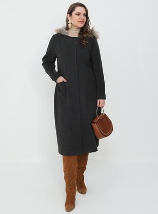Gray - Fully Lined - Coat - Alia