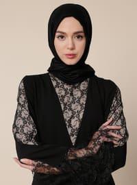 Black - Golden tone - Unlined - Polo neck - Muslim Evening Dress