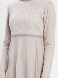 Gray - Salmon - Multi - Fully Lined - Crew neck - Muslim Evening Dress