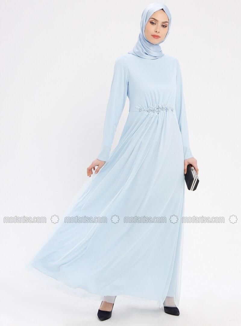 Baby Blue Unlined Crew Neck Muslim Evening Dress