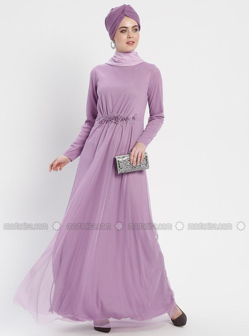 Lilac - Unlined - Crew neck - Muslim Evening Dress