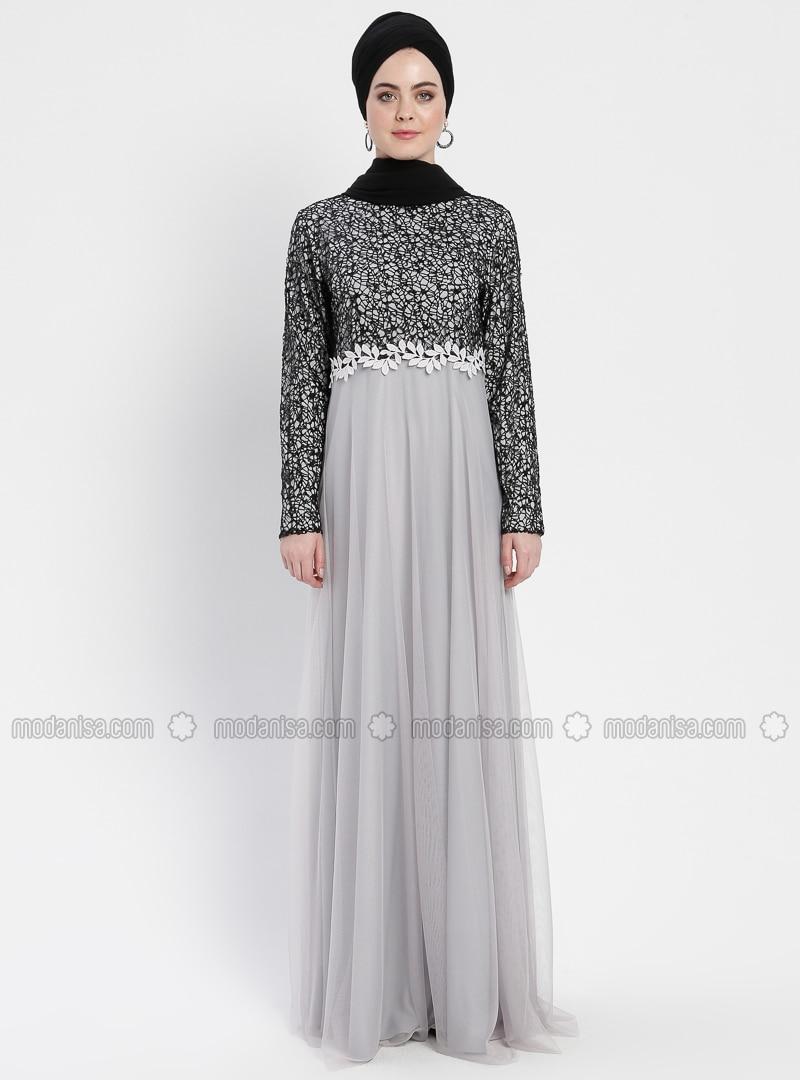17f766eef8834 Güpürlü Abiye Elbise - Siyah Gri