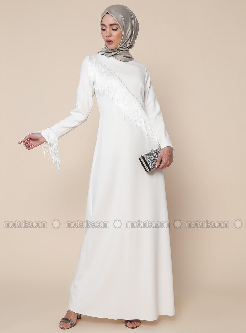 Cream - Unlined - Crew neck - Muslim Evening Dress
