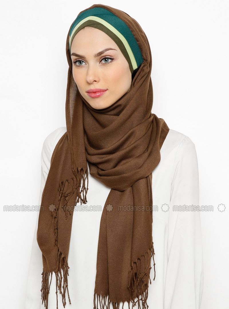 Brown - Plain - Fringe - Pinless - Instant Scarf