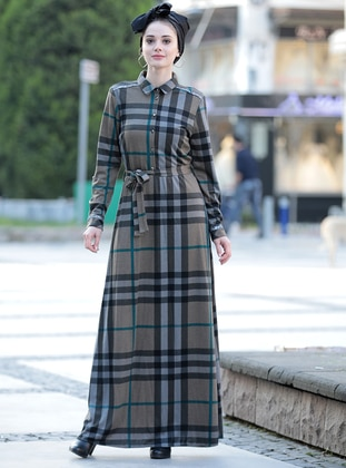 Khaki - Plaid - Point Collar - Fully Lined - Dresses