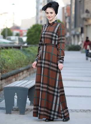 Brown - Plaid - Point Collar - Fully Lined - Dresses