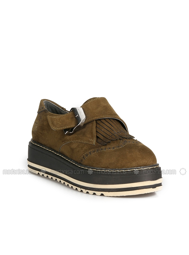 Khaki - Flat - Flat Shoes