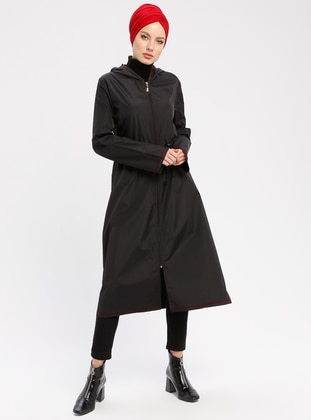 Black - Maroon - Unlined - Waterproof - Nylon - Trench Coat