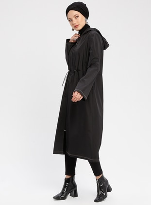 Black - Gray - Unlined - Waterproof - Nylon - Trench Coat