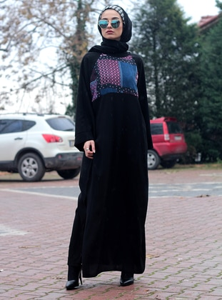 Black - Multi - Unlined - Crew neck - Abaya