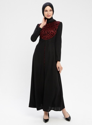 Black - Maroon - Ethnic - Unlined - Polo neck - Muslim Evening Dress