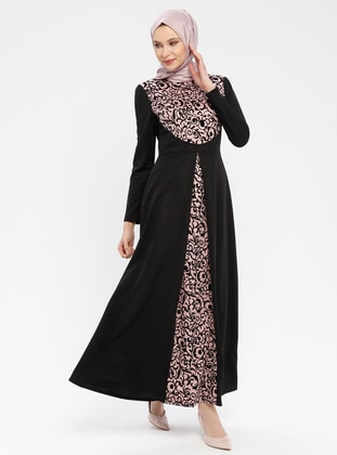 Black - Powder - Ethnic - Unlined - Polo neck - Muslim Evening Dress