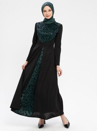 Black - Emerald - Ethnic - Unlined - Polo neck - Muslim Evening Dress
