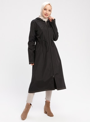 Green - Black - Unlined - Waterproof - Nylon - Trench Coat - Vivezza