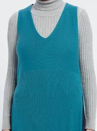 Petrol - V neck Collar - Acrylic -  - Plus Size Tunic