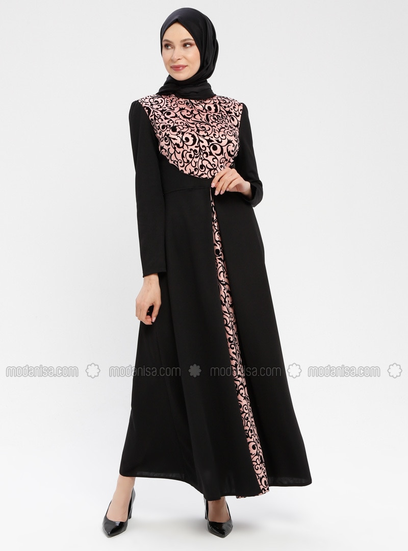 Black - Pink - Ethnic - Unlined - Polo neck - Muslim Evening Dress