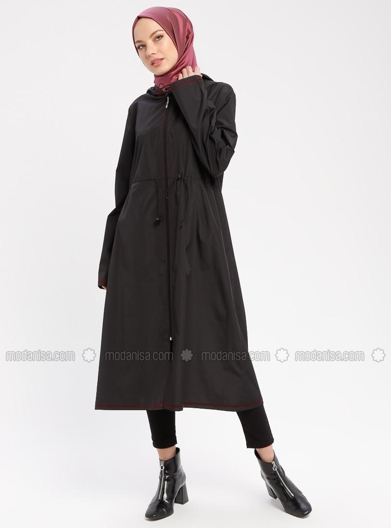 Black - Maroon - Unlined - Waterproof - Nylon - Trench Coat