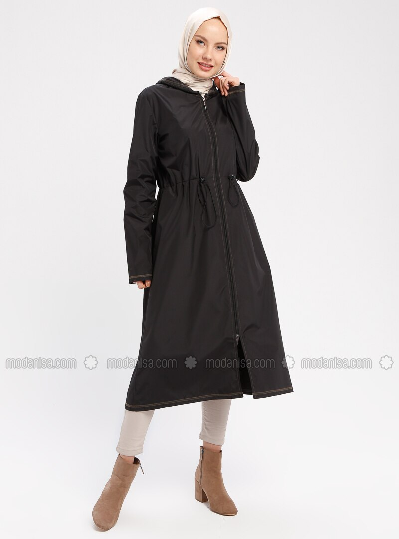 Green - Black - Unlined - Waterproof - Nylon - Trench Coat