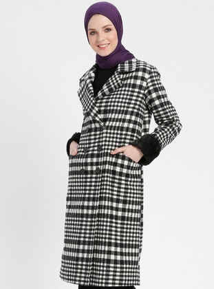 Black - White - Checkered - Fully Lined - Shawl Collar - Coat