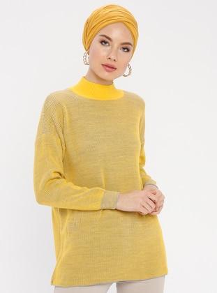 Yellow - Stripe - Polo neck - Acrylic -  - Tunic