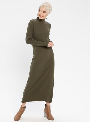 Khaki - Polo neck - Unlined - Acrylic -  - Dresses
