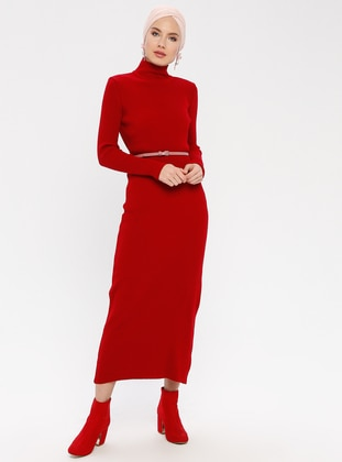 Red - Polo neck - Unlined - Acrylic -  - Dresses