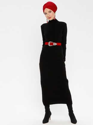 Black - Polo neck - Unlined - Acrylic -  - Dresses