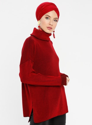 Red - Stripe - Polo neck - Acrylic -  - Tunic