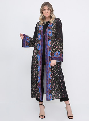 Black - Floral - Unlined - V neck Collar - Chiffon - Plus Size Coat