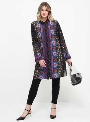 Black - Floral - Point Collar - Chiffon - Plus Size Tunic