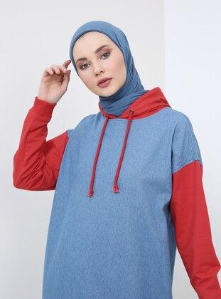 Red - Blue - Cotton - Denim - Tunic