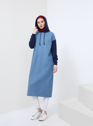 Blue - Navy Blue - Cotton - Denim - Tunic