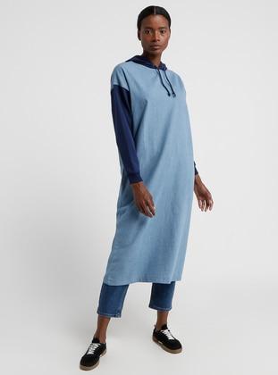 Blue - Navy Blue - Cotton - Denim - Tunic