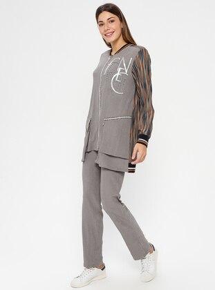 Gray - Camel - Tracksuit Set