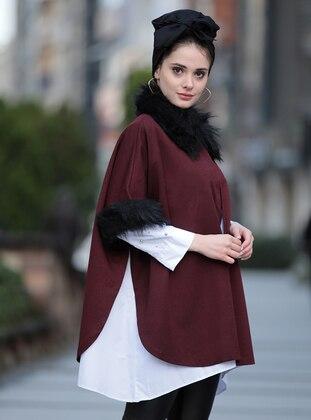 Maroon - Poncho - Selma Sarı Design