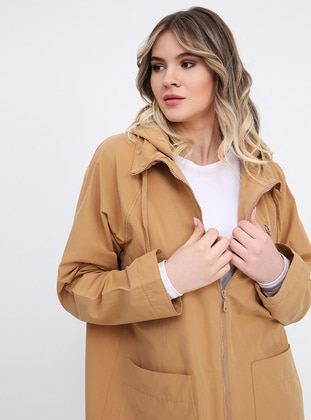 Camel - Unlined - Plus Size Coat - Alia