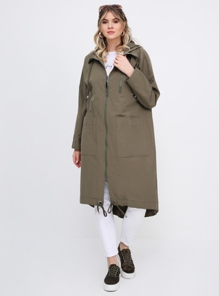 Khaki - Unlined - Plus Size Trench coat - Alia