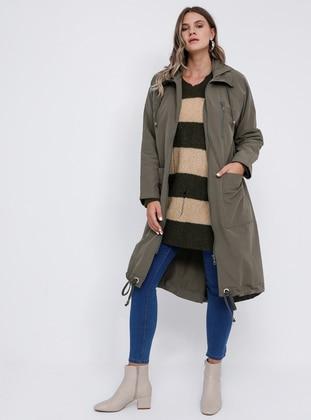 Khaki - Unlined - Plus Size Trench coat - Alia