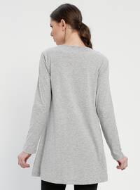Gray - Crew neck - Cotton - Tunic