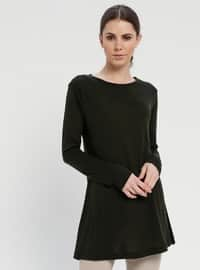 Khaki - Crew neck - Cotton - Tunic