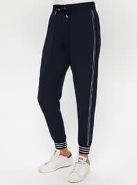 White - Navy Blue - Ecru - Unlined - Tracksuit Set