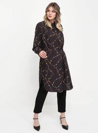 Black - Multi - Polo neck - Plus Size Tunic