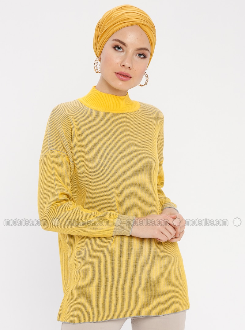 Yellow - Stripe - Polo neck - Acrylic -  - Tunic