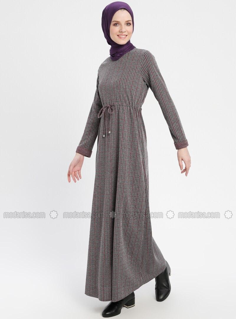 8e4ddf03210 Belden Bağlamalı Uzun Elbise - Fuşya